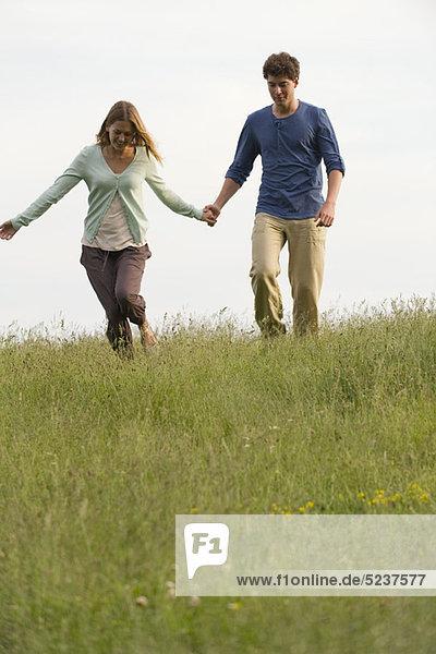 Junges Paar auf Wiese  die Hand in Hand gehen