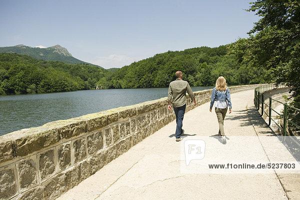 Couple walking by lake  rear view