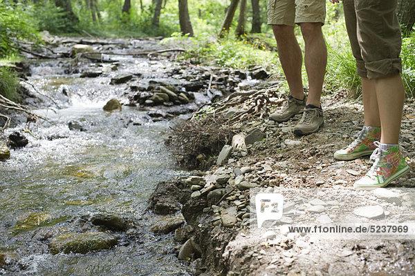 Wanderer  die neben Stream  zugeschnitten