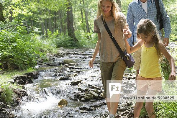 Familie gehen neben Stream in Wäldern