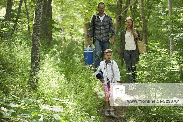 Familie gehen zusammen in Wäldern