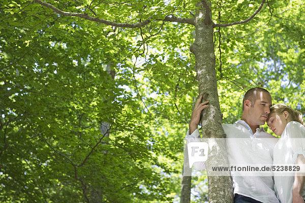 Couple embracing von tree