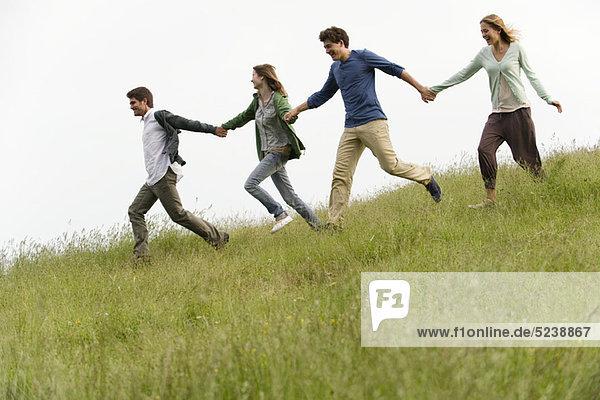 Jungen Erwachsenen auf Wiese  die Hand in Hand