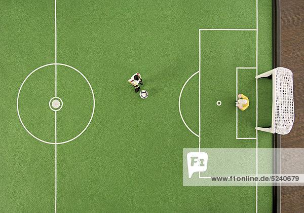 Tipp-Kick-Spielfeld von oben  Elfmeter