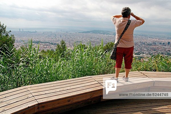 Barcelona from the viewpoint of the Fabra Observatory  Barcelona  Catalonia  Spain.