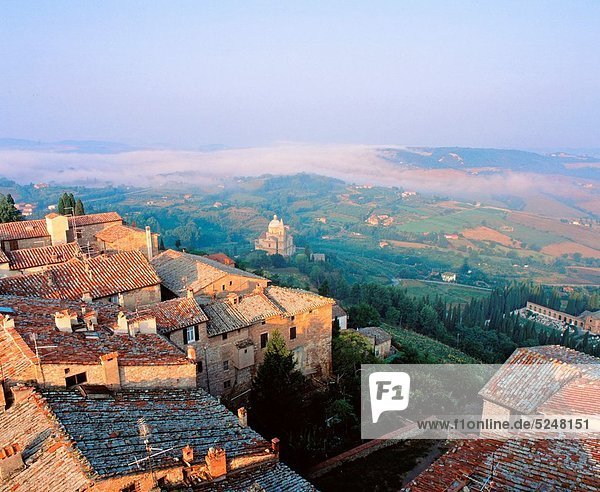 Sanctuary of the Madonna di San Biagio and the hill town of Montepulciano  Tuscany  Italy
