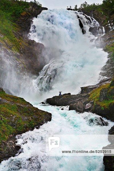 Kjosfossen Waterfall next to Flam  Sogneflord  Naeroyfjord Sognefjord branch  Sogn & Fjordane Norway.