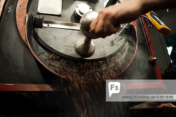 Coffee beans in coffee grinder