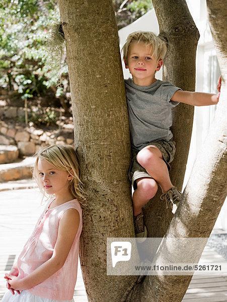 Bruder und Schwester Baum Klettern
