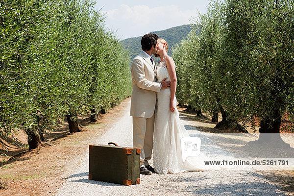 Frischvermählte küssen sich auf der Landstraße mit Koffer