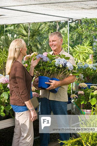 Paar Pflanzen im Gartencenter auswählen