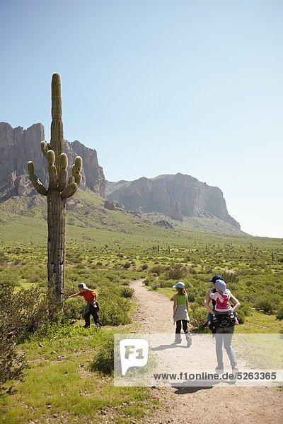 Rückansicht der Familie Wandern in Wüste