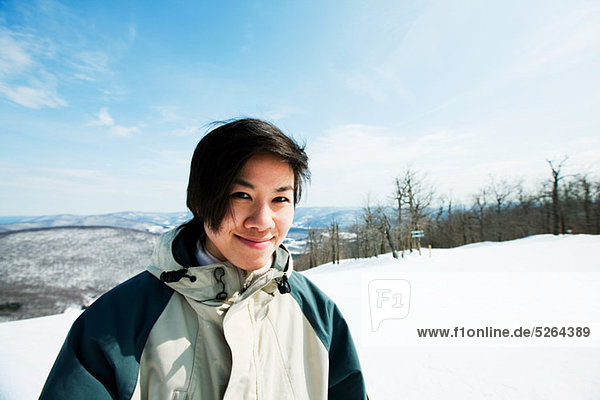 Woman wearing ski jacket  portrait