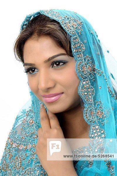 Portrait of Indian lady in designer blue sari MR738C