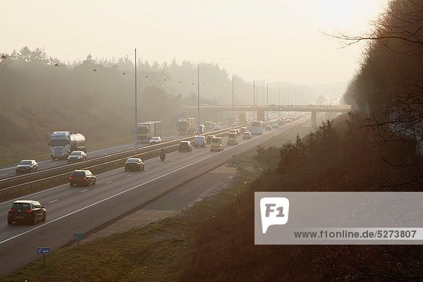 Rush hour in the morning on the highway A28 between Amersfoort and Utrecht  Netherlands