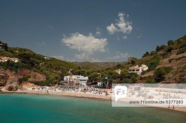 Europa Mensch Menschen Strand sonnenbaden sonnen Provinz Alicante Xabia Costa Blanca Spanien