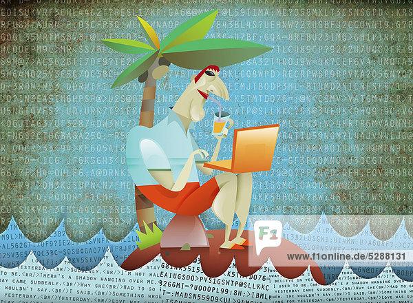Mann benutzt einen Laptop auf einer tropischen Insel