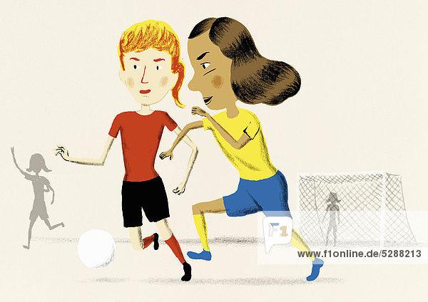 Zusammenhalt Fußball Mädchen spielen