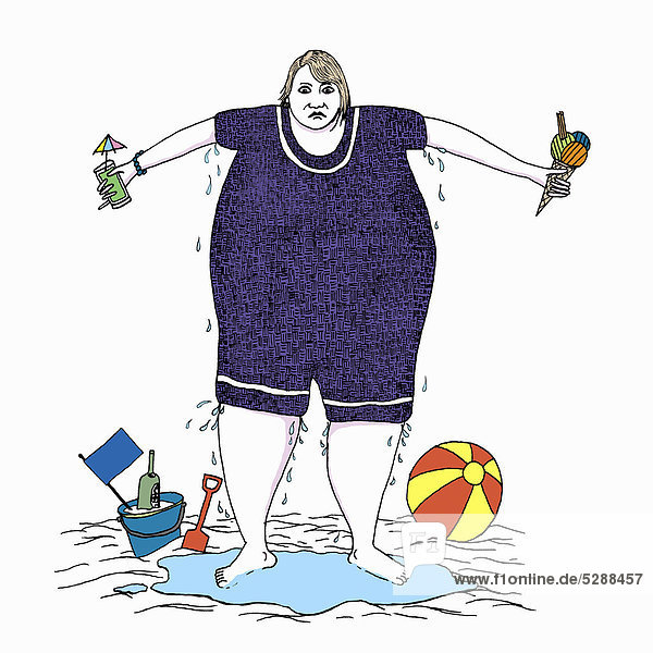 Schwitzende übergewichtige Frau im Badeanzug