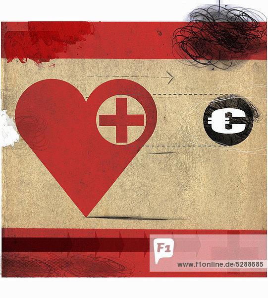 Herz mit rotem Kreuz folgt einem Eurosymbol