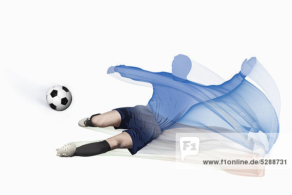 Bewegung Mann treten Ansicht Fußball Bewegungsunschärfe Ball Spielzeug