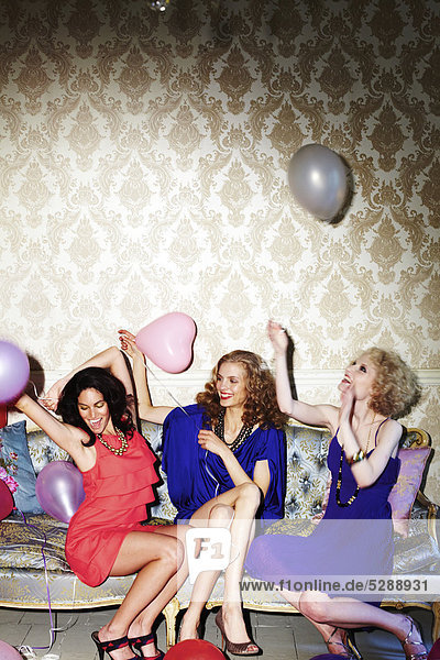 Group of three fun females