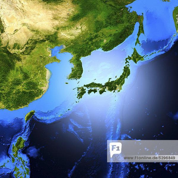 Detaillierte 3D-Darstellung  Blick auf Japan aus dem Weltall