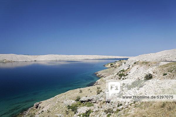 Karge Landschaft der Insel Pag  Zadar  Kroatien  Dalmatien  Europa