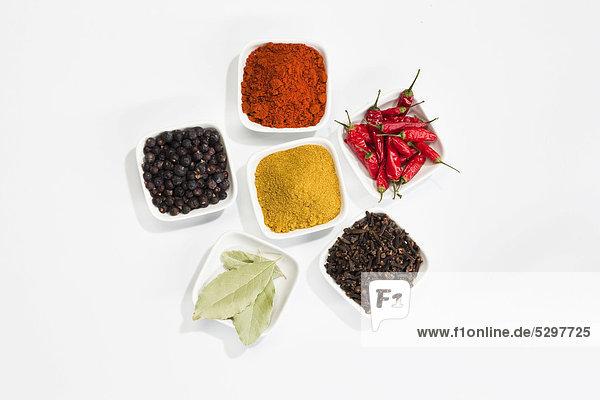 Lorbeer Schüssel Schüsseln Schale Schalen Schälchen Peperoni Curry Currypulver klein Vielfalt Gewürz Currygericht Curry Paprika