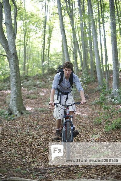 Mann auf dem Fahrrad im Wald