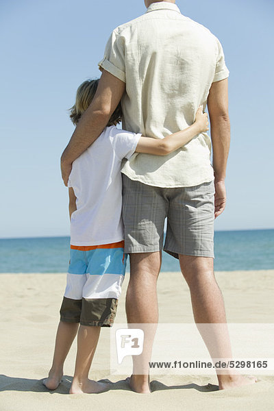 Father and young son standing together at the beach  rear view