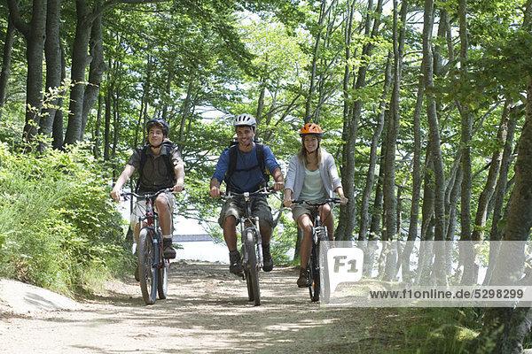 Freunde  die mit dem Fahrrad durch den Wald fahren.