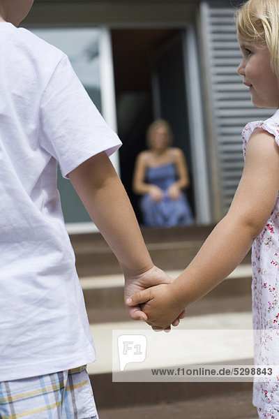 Young siblings holding hands outdoors  rear view
