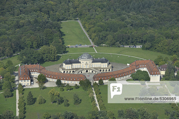 Aerial view  Schloss Solitude palace  built 1763-1769 as a hunting and entertainment palace of Duke Carl Eugen von Wuerttemberg  Stuttgart  Baden-Wuerttemberg  Germany  Europe