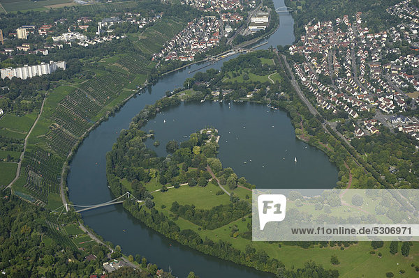 Aerial view  Lake Max-Eyth-See  a manmade lake on the river Neckar at the foot of the vineyards between Muehlhausen and Hofen  Baden-Wuerttemberg  Germany  Europe