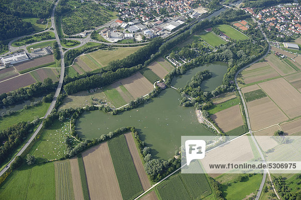 Aerial view  Lake Aileswasensee near Neckartailfingen  district of Esslingen  Baden-Wuerttemberg  Germany  Europe