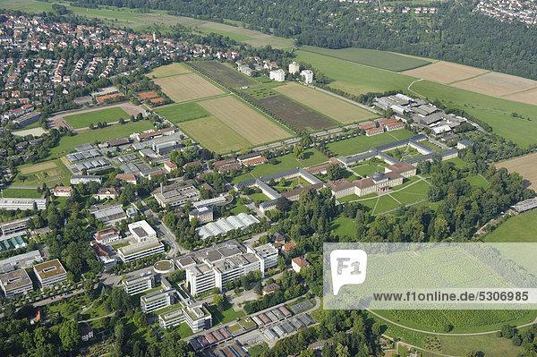 Luftbild,  Teile der Campus-Universität Hohenheim,  Plieningen,  Baden-Württemberg,  Deutschland,  Europa
