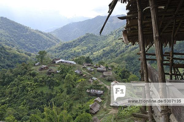 Tradition Hügel Dorf Asien Indien Volksstamm Stamm