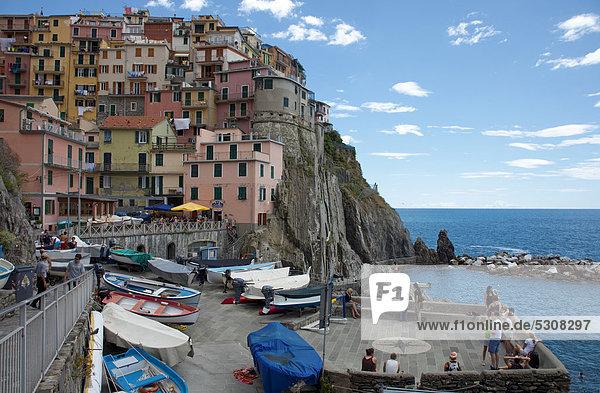 Nationalpark Hafen Europa Boot Dorf parken angeln unzureichend UNESCO-Welterbe Cinque Terre Italien Ligurien Manarola Provinz La Spezia