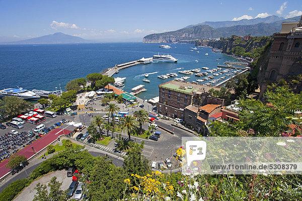 View on the harbor and ferry port  Marina Grande  Sorrento  Sorrento Peninsula  Gulf of Naples  Campania  Italy  Mediterranean  Europe