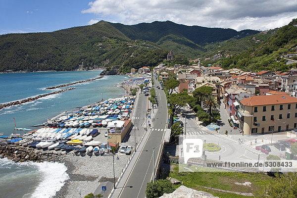 Village overview  harbour and beach  Moneglia  Genoa Province  Liguria  Italian Riviera or Riviera di Levante  Italy  Europe