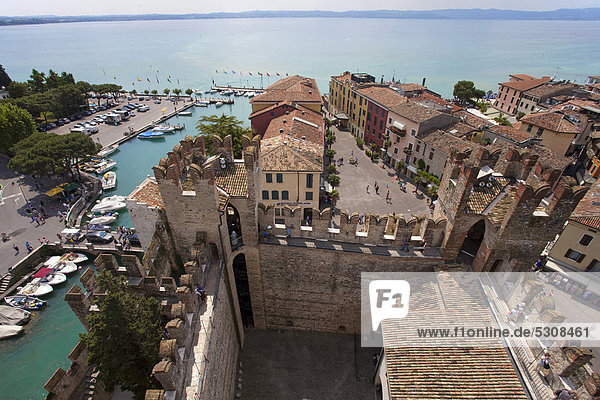 View from the Castello Scaligero fortress on the old town  peninsula  Sirmione  Lake Garda  Brescia province  Lombardy  Italy  Europe