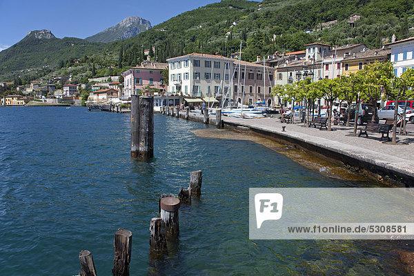 Promenade am Seeufer  Gargnano  Gardasee  Provinz Brescia  Lombardei  Italien  Europa