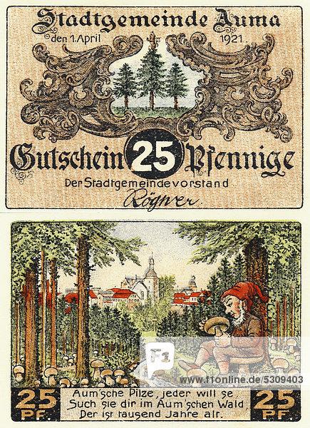 Notgeld aus Auma  Verwaltungsgemeinschaft Auma-Weidatal  25 Pfennig  Vorder- und Rückseite  Motiv Zwerg mit Pilz im Wald  Deutschland  Europa  1921
