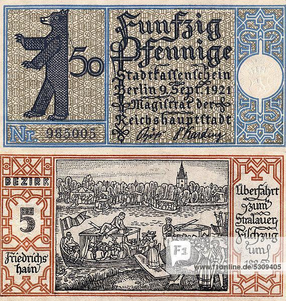 Notgeld aus Berlin Friedrichshain  50 Pfennig  Vorder- und Rückseite  Motiv Berliner Bär und Überfahrt zum Stralauer Fischzug von 1825  Deutschland  Europa  1921