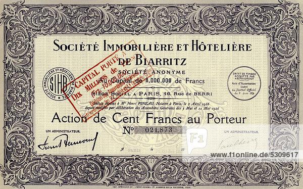Historisches Wertpapier  Aktie der französischen Immobilien und Hotels über 100 Franc  Societe Immobiliere et Hoteliere de Biarritz  Paris  Frankreich  1927