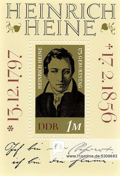 Historische Briefmarke der DDR  Heinrich Heine  Deutsche Demokratische Republik  1972