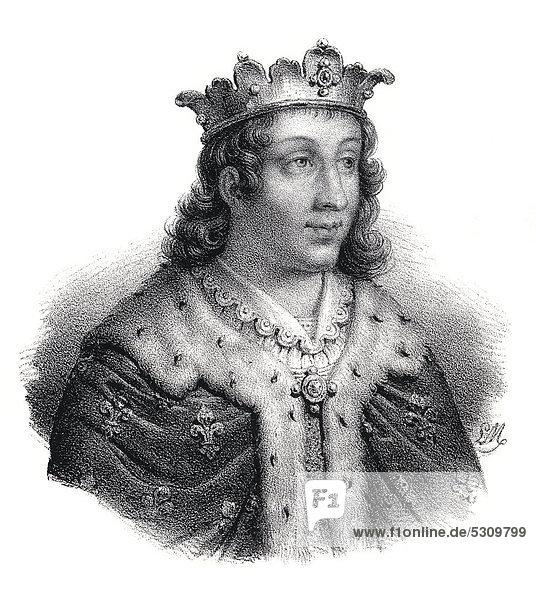 Historischer Stahlstich aus dem 19. Jahrhundert  Portrait  Chlothar III. oder Clotaire III.  der Frankenkönig aus dem Hause der Merowinger  7. Jahrhundert