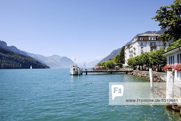 Europa See Boot Dock Luzern Schweiz
