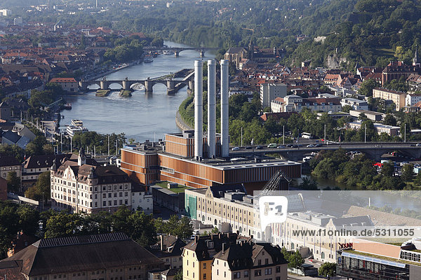 View from Steinberg hill  on combined heat and power station  Kulturspeicher cultural centre  Main River  Alte Mainbruecke bridge  Wuerzburg  Lower Franconia  Franconia  Bavaria  Germany  Europe  PublicGround